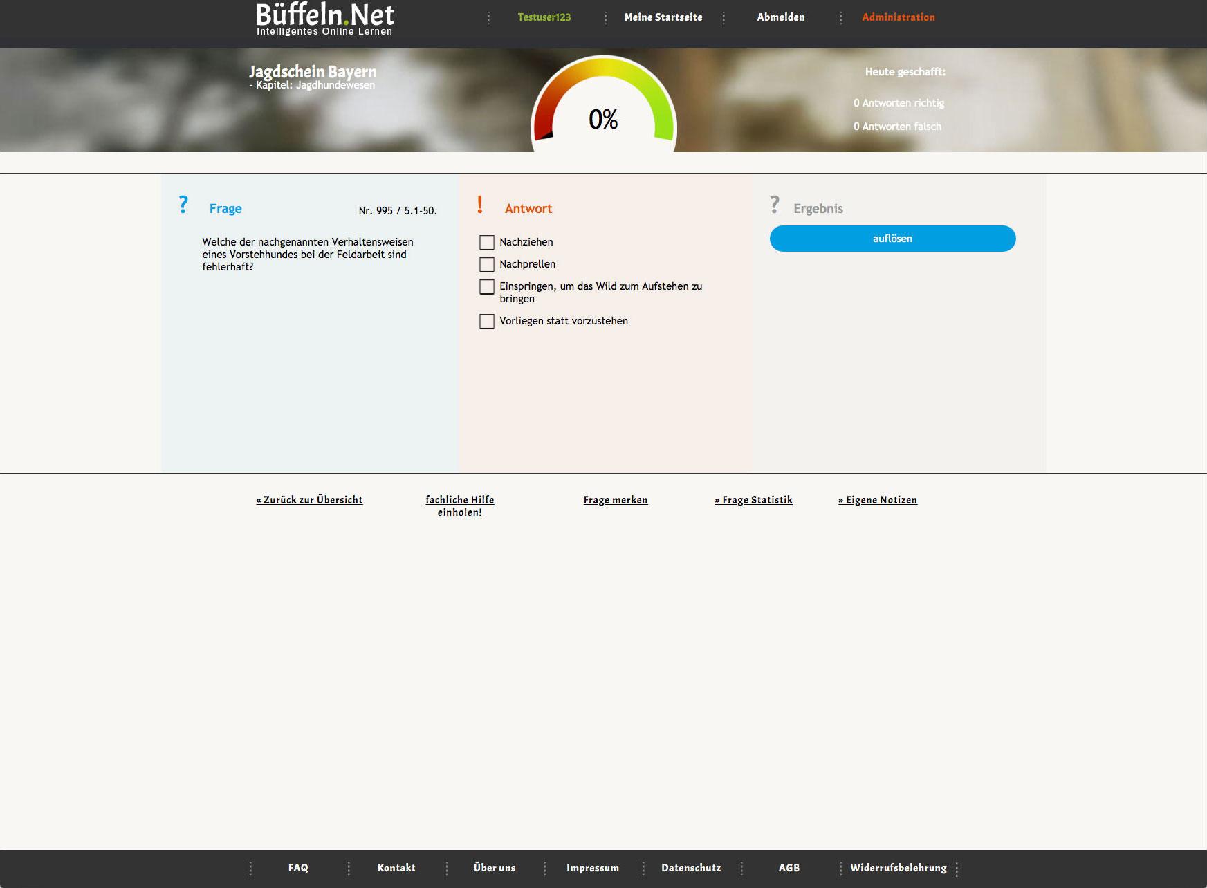 Büffeln.Net - Online Lernen - Lernumgebung